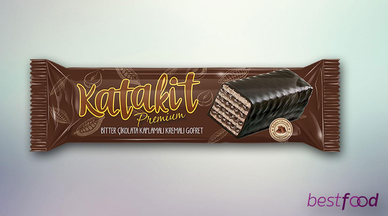 Katakit Premium Bitter Çikolata Kaplamalı Kakao Kremalı Gofret 40g